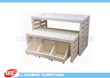 White Customied MDF Retail Store Display Tables Sgs Iso , Paint Finished